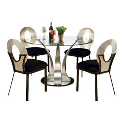 "Acme - 5 PC Cady Round Metal and Glass Dining Table with Beveled Edge and Metal Frame - 5-Piece Cady round metal and glass dining table with beveled edge and metal frame chairs. Table measures 48"" Dia. x 30"" H. Chairs measure 36"" H at the back and have cushions. Some assembly required."