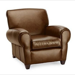 """Manhattan Armchair & Ottoman Set, Leather Hazelnut - With its signature blend of quality, value and style, our Manhattan Leather Club Chair is a Pottery Barn classic. The well-padded arms, high back and deep seat resemble furniture used in Manhattan nightclubs of the 1930s. 37"""" w x 40"""" d x 34"""" h {{link path='pages/popups/PB-FG-Manhattan-3.html' class='popup' width='720' height='800'}}View the dimension diagram for more information{{/link}}. {{link path='pages/popups/PB-FG-Manhattan-4.html' class='popup' width='720' height='800'}}The fit & measuring guide should be read prior to placing your order{{/link}}. Seat cushions have a polyester wrap for a tailored and neat look. Proudly made in America, {{link path='/stylehouse/videos/videos/pbq_v36_rel.html?cm_sp=Video_PIP-_-PBQUALITY-_-SUTTER_STREET' class='popup' width='950' height='300'}}view video{{/link}}. For shipping and return information, click on the shipping info tab. When making your selection, see the Quick Ship and Special Order leathers below."""