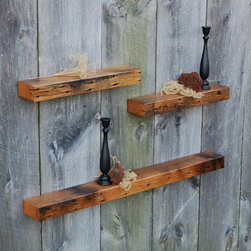 Three Vintage White Oak Floating Shelves - Three reclaimed white oak floating shelves. Made from reclaimed barn rafters. Polished and buffed to a smooth satin luster. Add charm and warmth to any decor. Keyhole fasteners installed for easy, secure installation. Light coats of varnish.