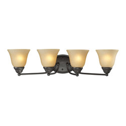 Z-Lite - Z-Lite Athena Bathroom Light X-V4-4112 - A classic bronze finish joined with warm amber-tea stained shades make this four light vanity fixture a tasteful addition to any home.