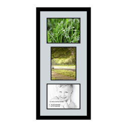 ArtToFrames - ArtToFrames Collage Photo Frame  with 3 - 8x10.5 Openings - This sleek Satin Black, 1.25 inch thick collage frame, comes equipped with a setup for 3 - 8x10.5 masterpieces of your choice. This collage is part of an array collage frame compilation and boasts a broad line of carefully constructed frames at a price you can smile about! Handcrafted and designed to outfit your masterpieces making sure you 3 - 8x10.5 art will fit right in. Bordered in a striking Satin Black, high-end frame and accompanied by a contemporary Baby Blue mat, the collage arrangement most definitely highlights your original prized artwork, and beloved memories in an entirely special and fun way. This collage frame comes protected in Styrene, handy with proper hardware and can be on display in the blink of an eye. These superior quality and rustic wood-based collage frames vary in style and size specifics; all in contemporary and modern design. Mats are available in a assemblage of color tones, openings, and shapes. It's time to tell your story! Preserving your saving your memories in an original and artistic contemporary way has never been easier.