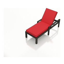 """Barbados Modern Wicker Adjustable Chaise Lounge by Forever Patio, Ruby Cushion"""