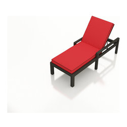 Forever Patio - Barbados Modern Wicker Adjustable Chaise Lounge, Flagship Ruby Cushion - The Forever Patio Barbados Rattan Outdoor Single Adjustable Chaise Lounge with Red Sunbrella cushions (SKU FP-BAR-ACL-EB-FB) is perfect for relaxing out on the patio, whether you just stepped out of the pool or just want to bask in the sun. The UV-protected, ebony-colored resin wicker sports a flat woven design, creating a contemporary look with clean lines. Each strand of this outdoor wicker is made from High-Density Polyethylene (HDPE) and is infused with its rich color and UV-inhibitors that prevent cracking, chipping and fading ordinarily caused by sunlight. This chaise lounge is supported by thick-gauged, powder-coated aluminum frames that make it more durable than natural rattan. This lounge includes fade- and mildew-resistant Sunbrella cushions, ensuring your chaise lounge is the center of outdoor relaxation.