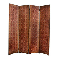 Oriental Furniture - 6 ft. Tall Olde-Worlde Rococo Room Divider - An outstandingly beautiful decorative accent with a fine quality rich burgundy textured faux leather finish. A well built and sturdy room divider; this screen is solid and substantial enough to use in a commercial enterprise or professional office as well as anywhere in the home. This Capaldi design is a simple, beautiful pattern, providing a lovely decorative background to a bare corner, behind a sofa, or near an entry to create a foyer. The warmth of the deep reddish tones and the unique, attractive design pattern combine to create a distinctive home decor accent we think you'll enjoy for years to come.