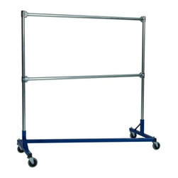 "Quality Fabricators - Z-Rack - Heavy Duty 60"" Long Base Double Rail w/ 72"" Uprights Blue - Clothing can be heavy, and your closet may be crying out for a little relief. This Z-Rack is designed to hold up to 500 lbs of apparel, while maximizing all five feet of length. And because the two rows are placed on top of each other, the rack will not tip under a heavy load. With steady 4  wheels, you re certain to find it a helpful companion in the battle against the bulge of the closet that is."