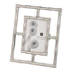 "Lazy Susan - Silver Bamboo Frame - -Use 5"" X  7"" Photo"