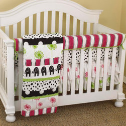 "Cotton Tale Designs - Hottsie Dottsie Front Crib Rail Cover Up Set - A quality baby bedding set is essential in making your nursery warm and inviting. All Cotton Tale patterns are made using the finest quality materials and are uniquely designed to create an elegant and sophisticated nursery. This collection is 100% cotton. Graphic, fun, contemporary. Black elephants with hot pink and green accents. Hottsie Dottsie Front Crib Rail Cover Up Set includes fitted crib sheet, dust ruffle, coverlet, and front crib rail cover up. The Hottsie Dottsie front cover up is both function and design, measuring 51 x 15. What a great idea, this front rail cover up protects your foot board on the convertible cribs and it looks great. For the parent choosing not to use a bumper, it can add the needed decor lost when the bumper is removed. The channel quilted comforter in 6 fun fabrics, sheet in white with black spots. The dust ruffle is double shirred in pink and green floral. makes a smashing nursery. Wash gentle cycle, separate, cold water. Tumble dry low or hang dry. Fun crib bedding for your special girl.; Weight: 8 lbs; Dimensions: 19""L x 19""W x 9""H"