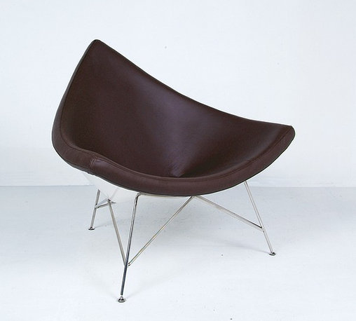 Modern Classics - Nelson: Coconut Chair Reproduction - Leather - Features:Molded fiber-reinforced polymer internal shellStainless steel legsHigh Resilient Multi-Density FoamChoice of 15 leather colorsSpecifications:Overall Dimensions (in): 42w x 32d x 36hSeat Height: 16.5 in.Weight: 65 pounds