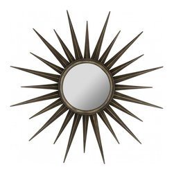 """Cooper Classics - Remi Bronze Round Mirror - The Remi Mirror will make an ideal center piece for any wall.  This stunning star burst wall mirror boasts a lovely bronze finish that will accentuate any d�cor. Frame Dimensions: 39""""W X 39""""H; Mirror Dimensions: 11.5""""W X 11.5""""H; Finish: Bronze; Material: Metal; Beveled: No; Shape: Round; Weight: 13; Included: Brackets, Ready to Hang"""
