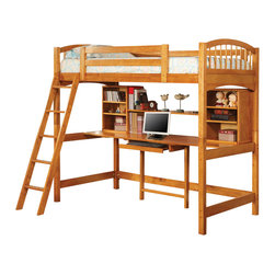 Adarn Inc - Oak/cappuccino Casual Twin Workstation Loft Bunk w/ Ladder Shelf Curved Bed Ends - Add this lovely loft bunk bed to your child's bedroom for classic style and great function. The simply styled piece features clean lines, curved bed ends, and an included ladder for easy up and down. The twin bed sits atop a convenient study area, offering a large work top with pull out center keyboard drawer to easily accommodate a computer. A large center shelf and three smaller shelves on each side of the desk will hold books, photos, and essential supplies. Choose from a warm medium wood finish, or a rich dark cappuccino finish to suit your taste and complement your decor.