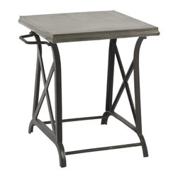 Kathy Kuo Home - Xander Wrought Iron Industrial Loft Crossing Side Table - With an iron base and a brushed metal top, the Xander side table is a durable yet stylish table that can be used indoors or outdoors.