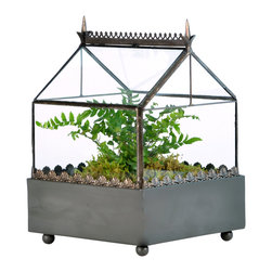 H Potter - Square Terrarium, Gothic Style - You don't need to have a grand Victorian house to keep a small Victorian greenhouse. Whether you use this terrarium case to protect your sensitive specimens, or add the liner to grow a terrarium, you'll get a period look for your favorite plants.