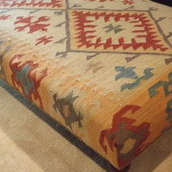 """55"""" x 31"""" Kilim Upholstered Ottoman from RH - This is a gorgeous kilim covered ottoman from Restoration Hardware."""