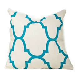 Society Social - Marrakesh Mixer Pillow, Aqua - The aqua pattern really pops off the linen background of this pillow, drawing the eye and adding interest. Consider this a quick and easy fix for any room that could use a punchy accent color.