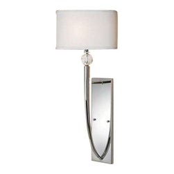 Uttermost Vanalen 1 Light Chrome Wall Sconce - Polished chrome with white silk look fabric shades. The clean lines and cultured refinement of plated polished chrome show in this soft contemporary look. Crystal ball accents with an ellipse shaped hardback white silk look fabric shades. Transitional enough for many of today's interior styles.