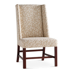 Baker Furniture - Wing Host Chair - Contemporized wing back host chair. Tight back and seat. Stretcher for strength.