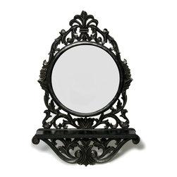 "Everybody's Ayurveda - Rectangular Mirror with Wall Shelf Ebony - Round Dark Wood Mirror with Wall Shelf. MDF and Mirror. 15"" Wide x 6 3/4"" Deep x 26"" Tall."