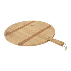 "EUROPE 2 YOU - Vintage Pizza Board by Europe2You - The Vintage Pizza Board is made entirely of 19th century reclaimed wood, and is accented by two strips of contrasting timber. Ideal for displaying bread, cheese or fruit at casual gatherings, it is even better for serving your own homemade pizza. 19.5"" diameter, handle is 6"" long"