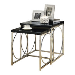 Monarch Specialties - Monarch Specialties 2-Piece 20 Inch Square Nesting Table Set in Chrome, Black - With its chic glossy black tops, this 2 piece nesting table set gives an exceptional look to any room. Its original circular chromed metal base provides sturdy support as well as a contemporary look. Use this multi-functional set as end tables, lamp tables, decorative display tables, or simply as accent pieces. What's included: Nesting Tables (2).