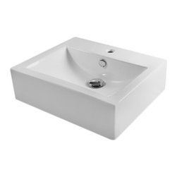 None - European Style Rectangular 20-1/2-inch Porcelain Ceramic Bathroom Vessel Sink - Compatible with most wall-mount or countertop-mount vessel filler faucets. This unique and modern rectangular shaped sink can be used in bathroom remodel or as a sink for your wet bar.