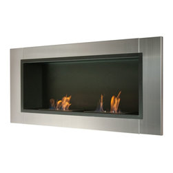 """Ignis Fireplaces - Ignis Lata Recesssed Fireplace - Free up floor space and give your room a streamlined modern look with this Lata Recessed Ventless Ethanol Fireplace. This clean-burning fireplace gives you all the heat and warmth of a traditional fireplace without the fuss and mess of a wood-burning units. It works on ethanol so it doesn't need special lines or a chimney to give you the deliciously toasty heat you crave to knock the chill out of frosty mornings. It has a beautiful contemporary look with a stainless steel frame that is shiny and modern and a black powder-coated backdrop that provides the perfect canvas for the 1.5-liter burners. This unit gives out a total of 12 000 BTUs of heat with two burners. Dimensions: 43.25"""" x 19.75"""" x 7.6""""."""