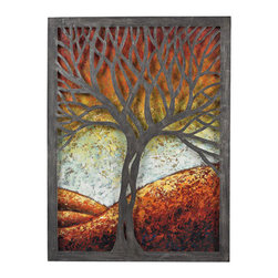 Sterling Industries - Sterling Industries 129-1110 Whitney Decor in Multi Colored Autumn Colors - Whitney-Autumn Scene Metal Wall D�cor