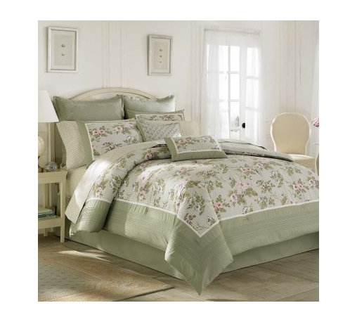 Laura Ashley Avery Cotton Duvet Cover Set - Your garden grows indoors with the Laura Ashley Avery Cotton Duvet Cover Set. Crafted with 100% cotton, this lofty bedding set includes a duvet cover and two coordinating shams, each with a soft stripe and floral print hedged by a pale green border. Choose from available sizes - each set is machine washable for easy care.Duvet cover dimensions:Full/Queen: 92L x 88W in.King: 107L x 92W in.About Laura AshleyLaura Ashley is the quintessential English brand and began when Laura and her husband Bernard began designing textiles at their kitchen table in 1953. Founded in Great Britain, Laura Ashley is known for its historic and coveted British fabrics, wallpapers, and cushions. It has recently expanded to North America to offer a full range of global products for the home and garden. Laura Ashley brings to the market carefully selected quality products in a range of categories that are stylish, fashionable, colorful, and innovative.