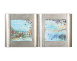 Uttermost - Colorful Connections I, II Wall Art, Set of 2 - These oil reproductions feature a hand applied brushstroke finish and are accented by wide frames with a champagne silver leaf base and a light brown wash.