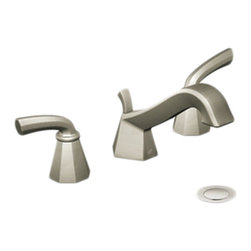 """Moen - Moen TS447BN Brushed Nickel Roman Tub Trim 8""""-16"""" Two Lever Handles, ADA - The Felicity series features bold, sweeping horizontal lines and geometric forms, giving it a modern feel that enhances any refined decorating style."""