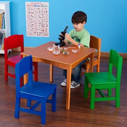 KidKraft Nantucket Primary Table and Chair Set - What We Like About the Nantucket Table and Chair Set Great for board games arts and crafts tea parties and more this Nantucket Table and Chair set has a stylish mixture of bright chairs and an earthy wooden table. Each sturdy chair has a Nantucket-style plank back and a wide comfortable seat. Perfect for youngsters up to age 3-8 this set is a great addition to a bedroom or playroom. Please note that the colors of the chairs are: Blue Red Green and Natural. The table color is also Natural. About KidKraftKidKraft is a leading creator manufacturer and distributor of children's furniture toy gift and room accessory items. KidKraft's headquarters in Dallas Texas serve as the nerve center for the company's design operations and distribution networks. With the company mission emphasizing quality design dependability and competitive pricing KidKraft has consistently experienced double-digit growth. It's a name parents can trust for high-quality safe innovative children's toys and furniture.