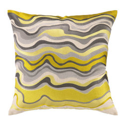 "Trina Turk Waterflow Embroidered Pillow, Citron - This highly-crafted embroidered throw pillow features elegant colors and patterns and is sewn on sophisticated natural linen. The perfect accent for your bedroom, living room, or any room that needs a little flair! It measures 20"" X 20""."