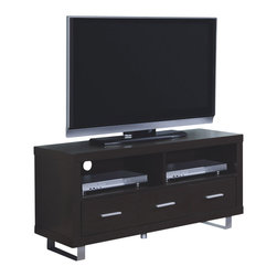 """Monarch Specialties - Monarch Specialties 2503 48 Inch TV Console in Cappuccino - This contemporary TV console finished in cappuccino features thick panels and modern metal accent legs. The sleek profile of this stand will perfectly compliment all the newest flat screen TV's and components (Up to 50""""). Features three spacious storage drawers, two open storage shelves and integrated wire management system."""