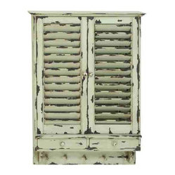 UMA - Shabby Chic Wooden Wall Cabinet - This darling louver door wall cabinet sports vintage cottage flair and shabby chic style.
