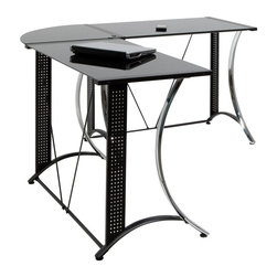 Calico Designs - Monterey LS Corner - Chair not included. Chrome Plated and Black Powder Coated Steel . Black Tempered Safety Glass . (8) Floor Levelers for Uneven Surfaces. Overall Dimensions: 58.5 in. W x 58.5 in. D x 29.5 in. H. Main Work Surface: 35.5 in. L x 20 in. D x 2pcs. Corner Connector: 20 in. x 20 in.