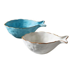 Swim to Shore Fish Bowl - Set of 2 - These Swim to Shore Fish Bowls make a wonderful addition to any décor. Place one on your table in the foyer for keys and loose change and another in your bedroom for your little bits of treasure. Keep candy in one in your living room, while using another in the kitchen to serve up tasty appetizers and cheese. These dolomite fish are highly affordable and versatile no matter your lifestyle.