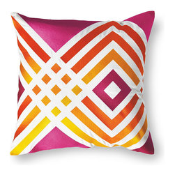 Frontgate - Trina Turk Los Olivos Pink Outdoor Pillow - 100% solution-dyed polyester fabric. Embroidered with outdoor polyester thread for long-lasting color. Finished with a clean knife edge. Reverses to solid back. High-density polyester fill. Fashion designer Trina Turk's love of mid-century design inspired the design of the Los Olivos Outdoor Pillow. Beautifully embroidered and crafted using premium all-weather materials, our Trina Turk Los Olivos Pink Outdoor Pillow makes a brilliant statement indoors or out. This luxurious graphic pillow is elaborate in color, lavish in detail, and impervious to the elements.  .  .  .  .  . Sport clean with mild soap and water; air-dry only . Zipper closure . A Frontgate exclusive . Imported.