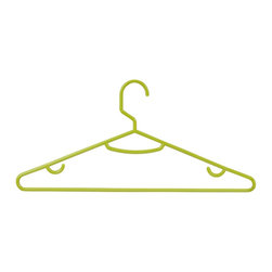 Honey Can DO - Tubular Hangers - Lime Green, Set of 60 - Versatile and lightweight, our lime green tubular hangers are perfect for polos, t-shirts, and tank tops. The large rod hook is designed to fit over any closet bar. Integrated accessory hooks keep garments with straps in place.