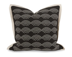 iMax - iMax IK Lalasa Pillow w/ Down Insert X-79124 - A soft black cotton cover is embellished with a dotted scale pattern and beige trim designed by Iffat Khan. With down fill.