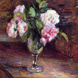 """Camille Pissarro Roses in a Glass - 16"""" x 20"""" Premium Archival Print - 16"""" x 20"""" Camille Pissarro Roses in a Glass premium archival print reproduced to meet museum quality standards. Our museum quality archival prints are produced using high-precision print technology for a more accurate reproduction printed on high quality, heavyweight matte presentation paper with fade-resistant, archival inks. Our progressive business model allows us to offer works of art to you at the best wholesale pricing, significantly less than art gallery prices, affordable to all. This line of artwork is produced with extra white border space (if you choose to have it framed, for your framer to work with to frame properly or utilize a larger mat and/or frame).  We present a comprehensive collection of exceptional art reproductions byCamille Pissarro."""