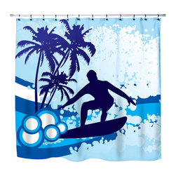 "Surfer Bedding - Eco Friendly ""Surf's Up"" Beach Themed Shower Curtain - ""Surf's Up"" Surfer Shower Curtain from our ""Extremely Stoked"" Surfer Bed and Bath Collection."
