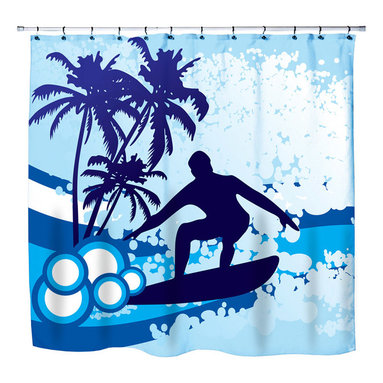 """Surfer Bedding - Eco Friendly """"Surf's Up"""" Beach Themed Shower Curtain - """"Surf's Up"""" Surfer Shower Curtain from our """"Extremely Stoked"""" Surfer Bed and Bath Collection."""