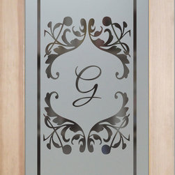 "Pantry Doors - Toulouse Monogram - CUSTOMIZE YOUR GLASS PANTRY DOOR!  Pantry Doors shipping is just $99 to most states, $159 to some East coast regions, custom packed and fully insured with a 1-4 day transit time.  Available any size, as pantry door glass insert only or pre-installed in a door frame, with 8 wood types available.  ETA for pantry doors will vary from 3-8 weeks depending on glass & door type.........Block the view, but brighten the look with a beautiful obscure, decorative glass pantry door by Sans Soucie!   Select from dozens of frosted glass designs, borders and letter styles!   Sans Soucie creates their pantry door obscure glass designs thru sandblasting the glass in different ways which create not only different effects, but different levels in price.  Choose from the highest quality and largest selection of frosted glass pantry doors available anywhere!   The ""same design, done different"" - with no limit to design, there's something for every decor, regardless of style.  Inside our fun, easy to use online Glass and Door Designer at sanssoucie.com, you'll get instant pricing on everything as YOU customize your door and the glass, just the way YOU want it, to compliment and coordinate with your decor.  When you're all finished designing, you can place your order right there online!  Glass and doors ship worldwide, custom packed in-house, fully insured via UPS Freight.   Glass is sandblast frosted or etched and pantry door designs are available in 3 effects:   Solid frost, 2D surface etched or 3D carved. Visit or site to learn more!"