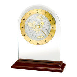 "Howard Miller - World Time Zone Alarm Clock in Beveled Glass - See the time throughout the rest of the world with this stylish, simple design; with a quick flick of the wrist, you can find the time in any country of the world! The clock face is set inside a beveled glass arch, with a satin rosewood base. * This world time table alarm clock is a handsome beveled glass arch set in a satin Rosewood base. . The dial features a circular spun brass finished numeral ring with black Arabic numerals. The center of the dial is white and shows a world time zone map with raised polished brass finished continents.. The map rotates to give the time throughout the world. . An acrylic crystal covers the dial, and a full felt bottom protects your desk or tabletop. . Quartz, alarm movement includes battery. . H. 6-3/4"" (17 cm). W. 5-1/2"" (14 cm). D. 1-3/4"" (5 cm)"