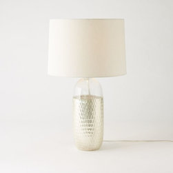 Metallic Honeycomb Table Lamp - Lamplight is so much more peaceful than a bright overhead light. I love the metallic detailing on this table lamp and hope it encourages guests to spend a little time reading before bed.