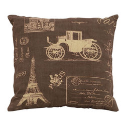 Benzara - Brown Pillow With Paris Lifestyle Theme - Being one of the most romantic places in all the world, it's good advice to always keep a little bit of Paris nearby inside your home. This pillow features the perfect touch of the full Paris life, from the tourist destinations to the enchanting carriages. Build a set of several kinds of Parisian style pillows.