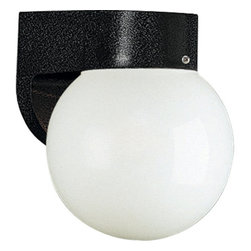 Progress Lighting - Progress Lighting P5813 Polycarbonate Lanterns Series Single-Light Outdoor Porch - Looking for a strong and contemporary outdoor wall sconce? Look no further than this sleek and stylish polycarbonate fixture from Progress Lighting. With a white acrylic globe and  sturdy mount, this fixture is delicate enough to add style to your modern home while standing up to the elements. This fixture covers a standard outlet box and is outdoor rated to offer years of reliable service.Features: