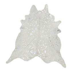 Devore Metallic Cowhide Rug in White with Large Silver Pattern - Dimensions: