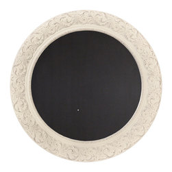 """Enchante Accessories Inc - Parisian Home Round Wooden Framed Wall Chalkboard / Blackboard 26"""" (Sabby White) - This message board features a Ornately carved Wooden Framed chalkboard. Use it as a traditional board for notes & to-do lists. With a wooden frame, this chalkboard works as well in the dining room, kitchen or mudroom as it does in the home office."""
