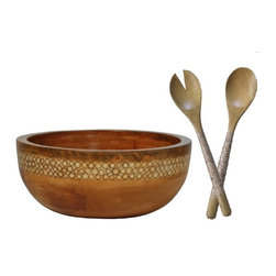 Mango Wood Salad Bowl with Natural Bamboo Inlay - A spectacular salad bowl made with sustainably harvested Mango wood and intricately inlaid with slices of bamboo branches into a stripe of natural resin. It was designed by Andrea Phillips and made in a traditional family workshop in Bali. Hand wash only.