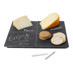 Reclaimed Slate Cheese Board - What got me about this cheese plate is that it's made from reclaimed chalkboards from an elementary school in Illinois. Sigh, I remember chalkboards.